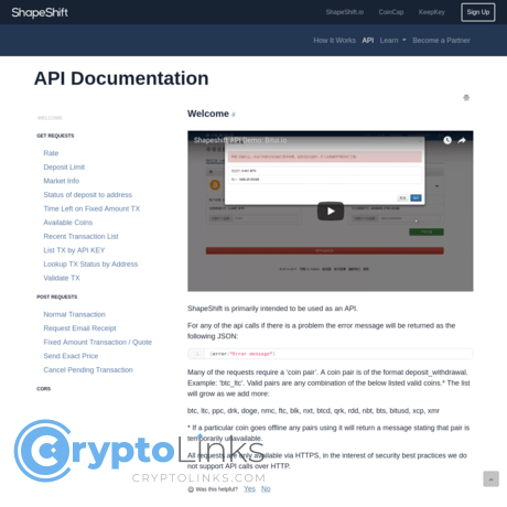 Cryptocurrency api for website