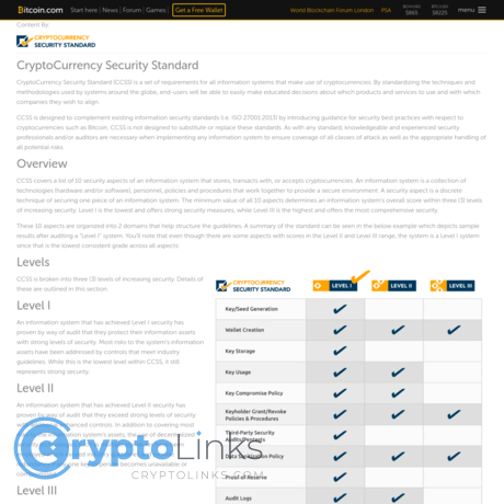 Cryptocurrency security standard ccss